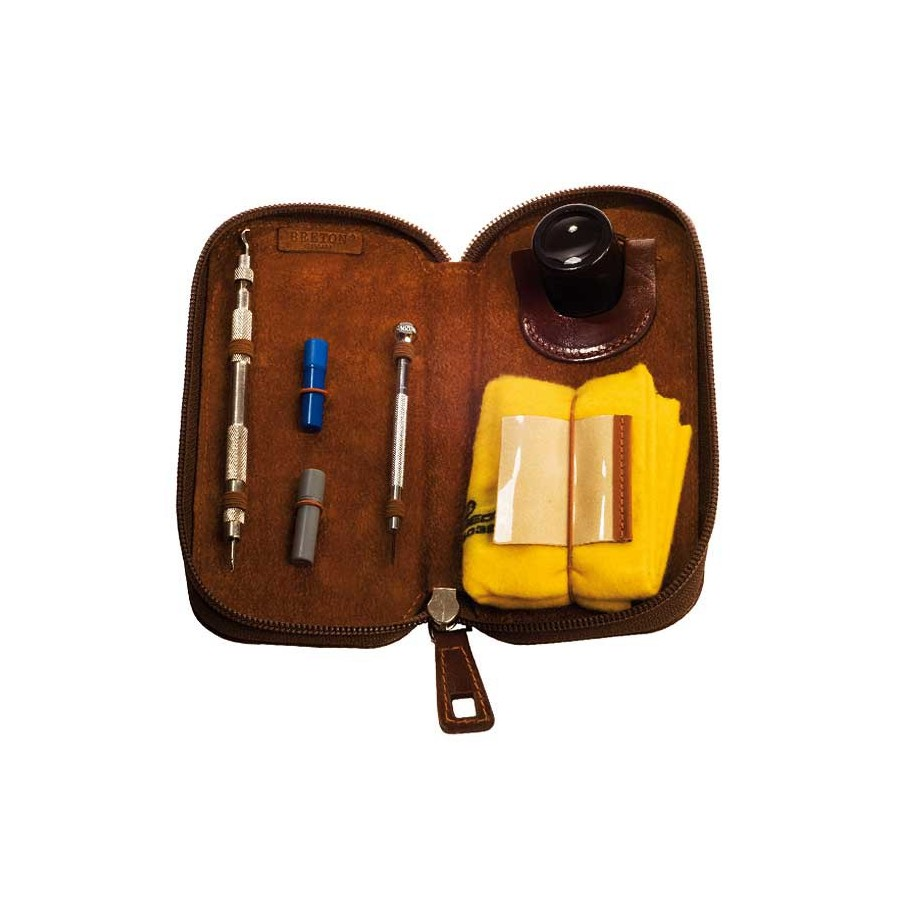 Leather case for watch maintenance and care set