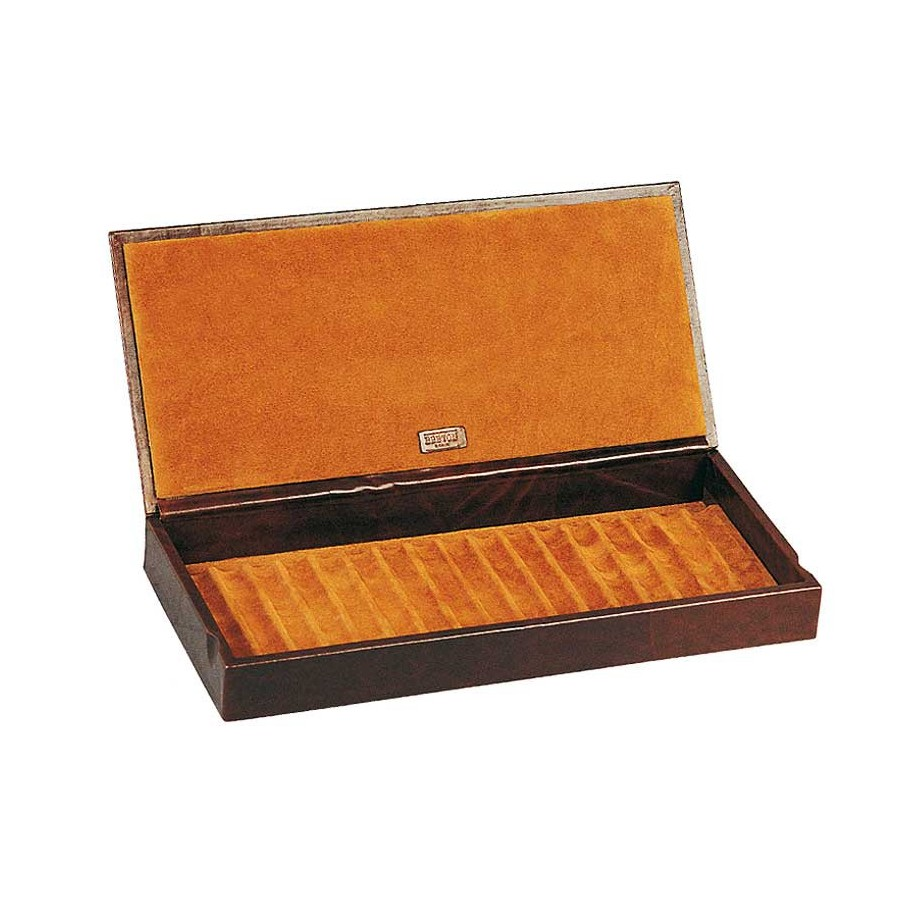 Box with a leather cover for 11 fountain pens arranged on 1 tray