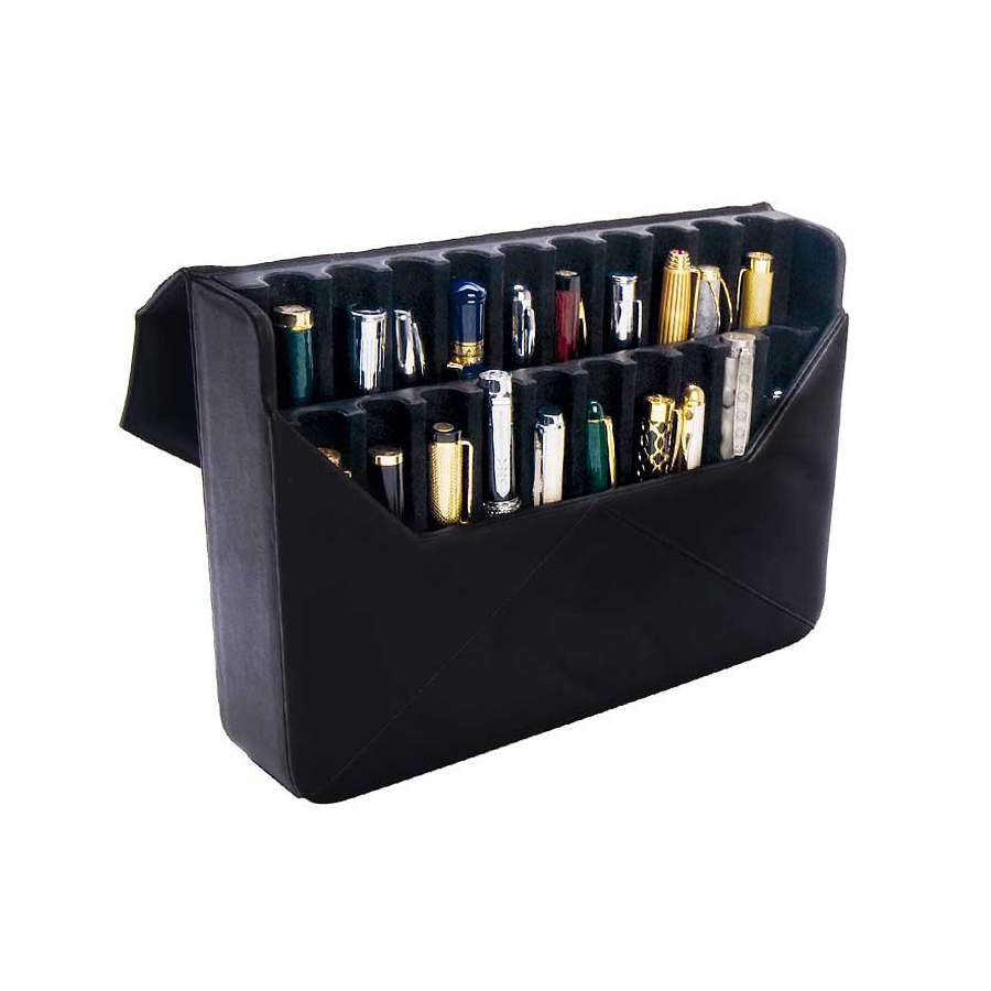 Tri-fold vertical case for 20 fountain pens