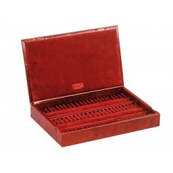 Box / Case for rings or cufflinks with leather lid