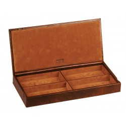 Box / Case for jewels with leather lid