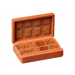 Case for 8 pairs of cufflinks arranged in different compartments