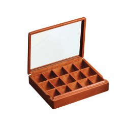 Box with glass lid for 15 pairs of cufflinks arranged in different compartments
