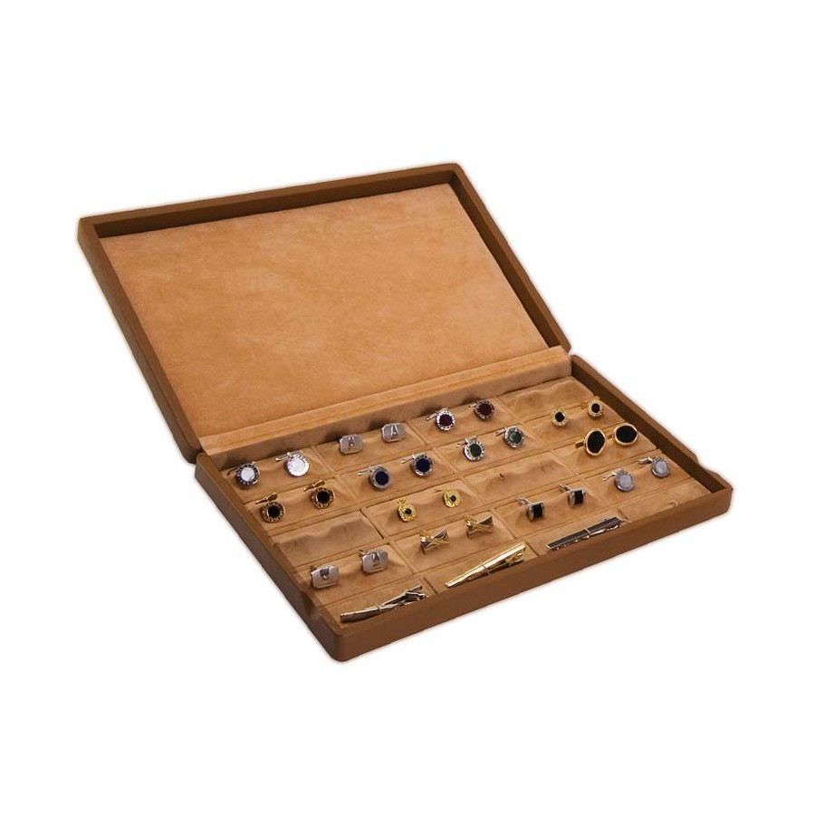 Case / Box with glass lid for 20 pairs of cufflinks arranged on removable bases