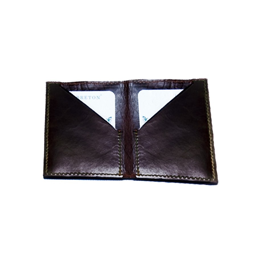 Card holder with double oblique compartment