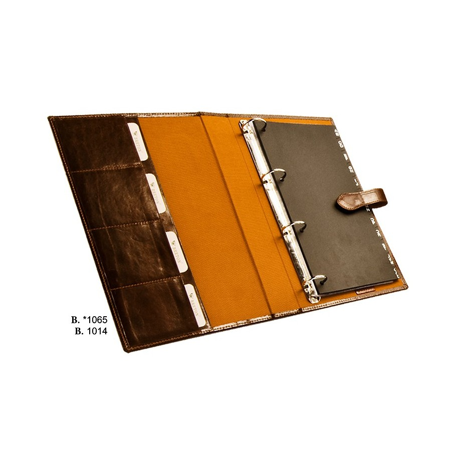 Desktop card holder with rings and index folder of 15 pages for 120 cards