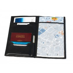 Travel document case with compartments for maps