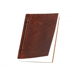 Notepad (without binding) with brass bar and elastic band