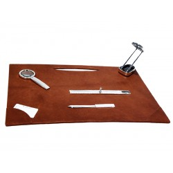 Desk pad with slot for fountain pens and card holders