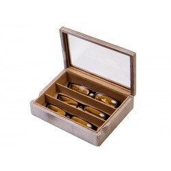 Box with glass lid for 3 prescription glasses