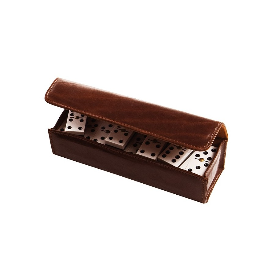 Travel domino game with magnetic closure