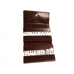 Travel domino game with press studs closure