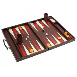 Backgammon with metallic and leather handle