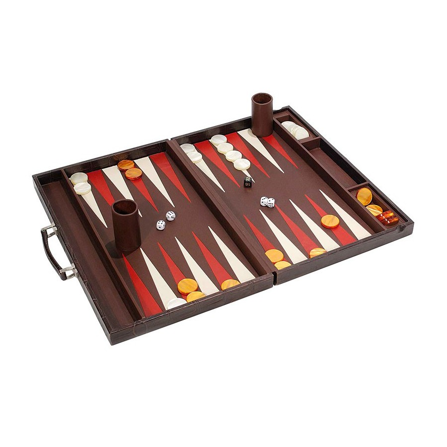 Large backgammon with metallic and leather handle