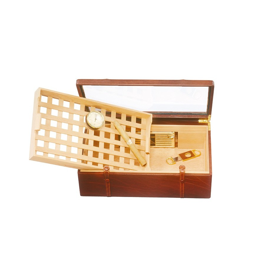 Cigar box with lattice removable tray and glass lid