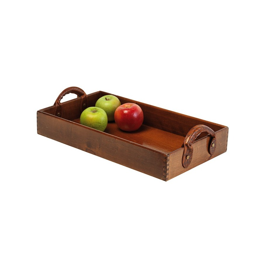 Wooden tray with leather handles
