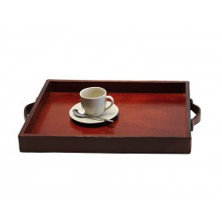 Wooden tray covered with leather