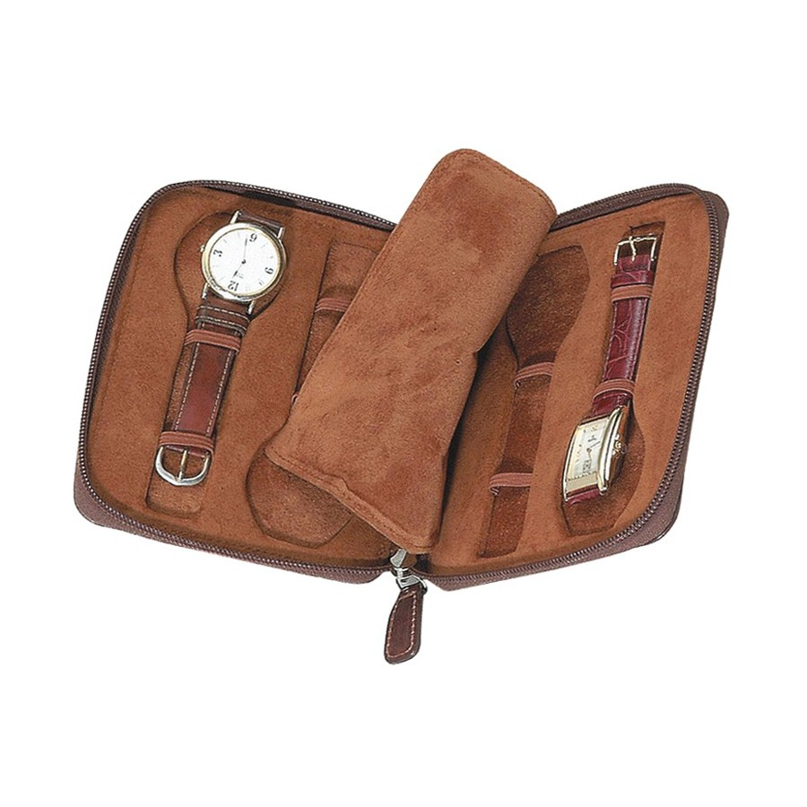 Leather Case / Travel Box for 4 flat-lying watches