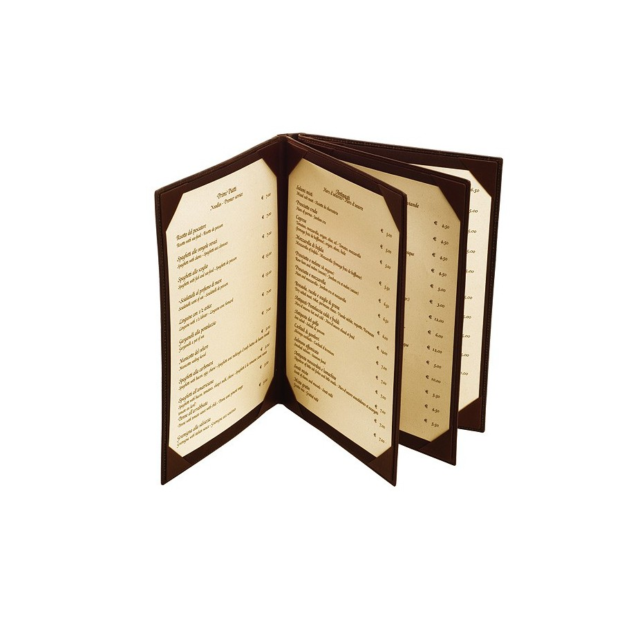 Menu holder with double interior dividers and corner holders