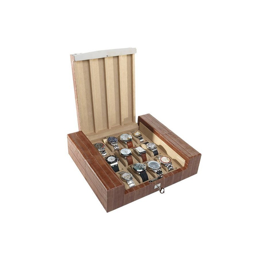 Box for 12 special watches on cushions with support pads