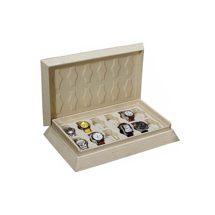 Double prism case for 12 special watches on flexible cushions in 1 section