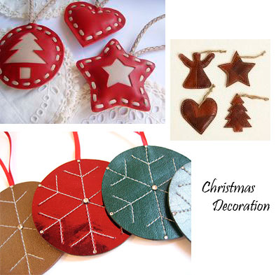 Leather accessories to decor the Christmas tree