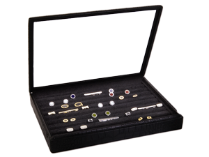 Case with Glass Lid for Cufflinks